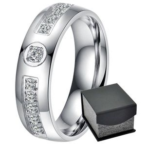 Other - Men's Wedding Anniversary Dome 6 mm  Band CZ Ring